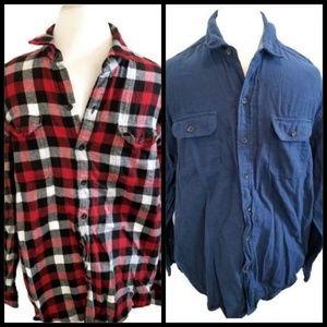 2 Woolrich flannel shirt blue plaid red black XL